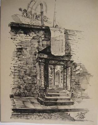 バルセロナ旧市街のスケッチLamina (1920年代) _f0112550_332471.jpg