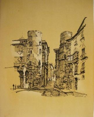 バルセロナ旧市街のスケッチLamina (1920年代) _f0112550_3333813.jpg