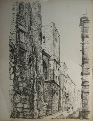 バルセロナ旧市街のスケッチLamina (1920年代) _f0112550_3344155.jpg