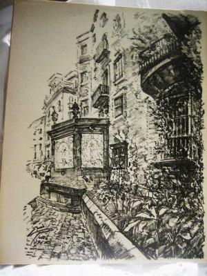 バルセロナ旧市街のスケッチLamina (1920年代) _f0112550_3352117.jpg