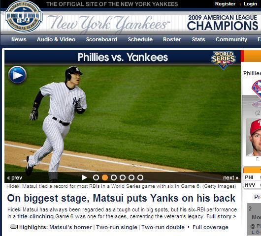 ヤンキース、ワールドチャンピオンに! 松井選手がMVP!!!_b0007805_1414627.jpg