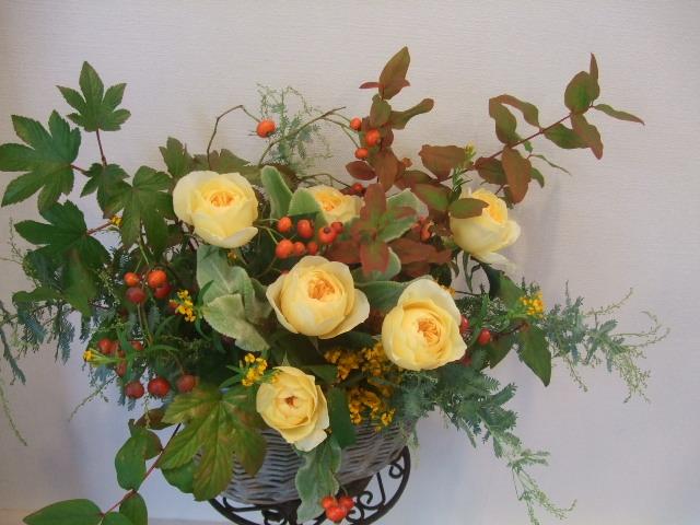 オークリーフ(黄色い薔薇のアレンジメント)_f0049672_13355367.jpg