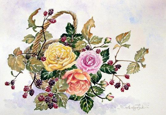 薔薇の水彩画_b0089338_2361920.jpg
