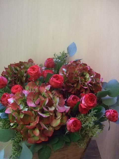 オークリーフ(レッドラナンキュラと赤い紫陽花のアレンジメント)_f0049672_1454415.jpg