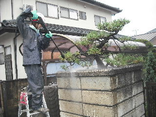 屋根塗装・・初日の高圧洗浄_f0031037_18503842.jpg