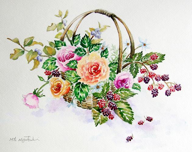 籠の薔薇~水彩画~_b0089338_23562741.jpg