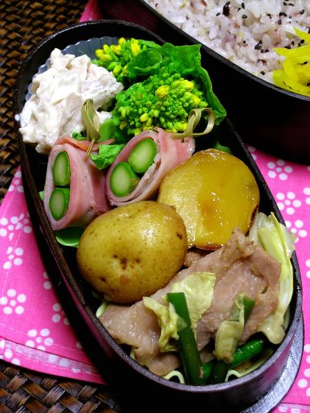 豚肉キャベツとベーコンアスパラのお弁当_b0171098_644913.jpg