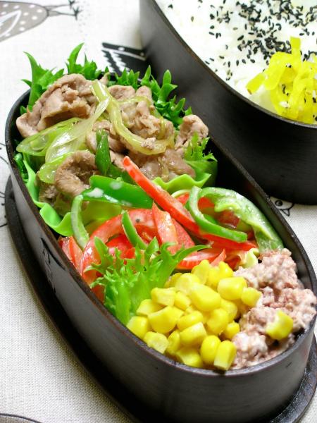 レンジ豚肉の生姜焼き弁当_b0171098_816816.jpg