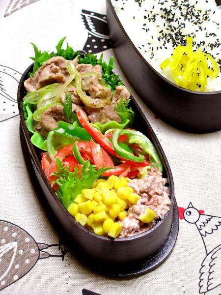 レンジ豚肉の生姜焼き弁当_b0171098_8181382.jpg
