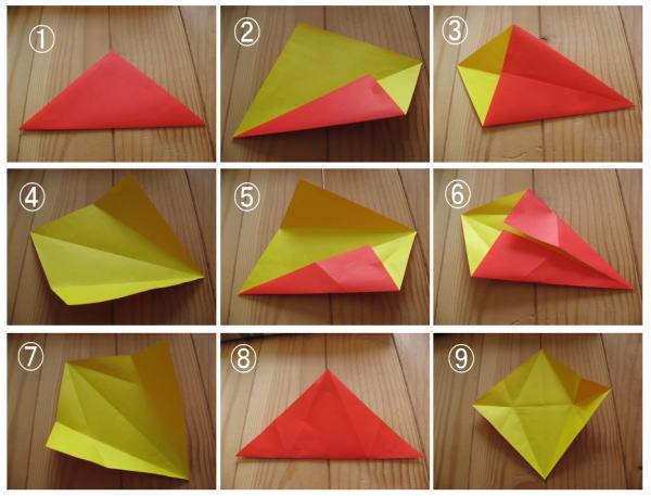 簡単 折り紙 両面折り紙 折り方 : sekahitotu.exblog.jp
