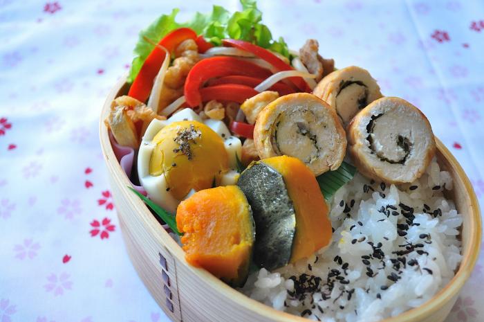 鶏ささみロールと南瓜の煮物のお弁当_b0171098_873230.jpg