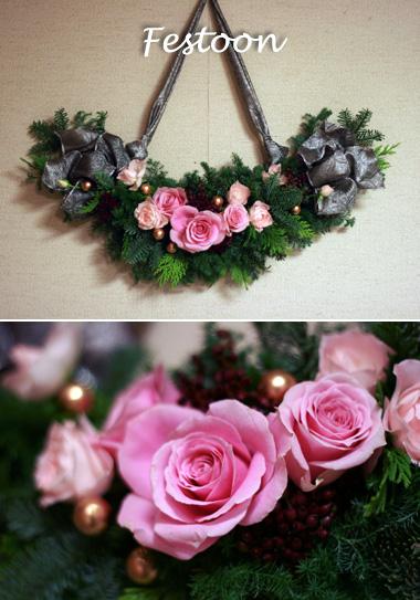 クリスマスの花綵(づな) フェスツーン_d0133320_2328193.jpg