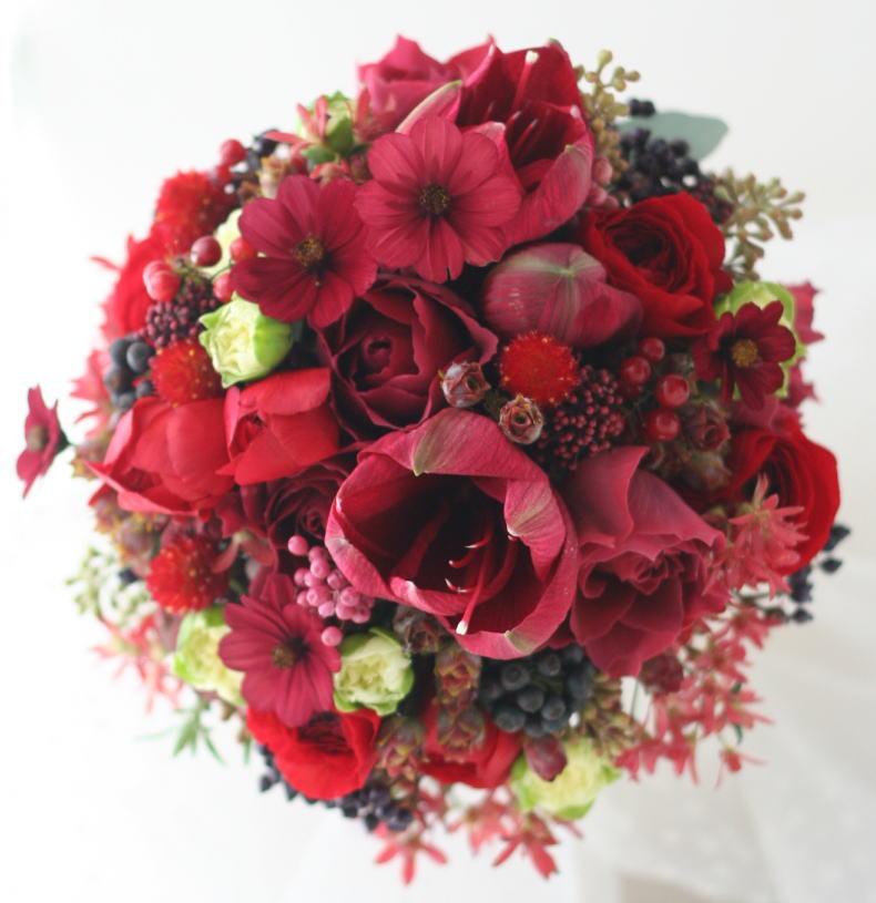 ブーケ ラウンド 12月、かわいい赤で_a0042928_2251076.jpg