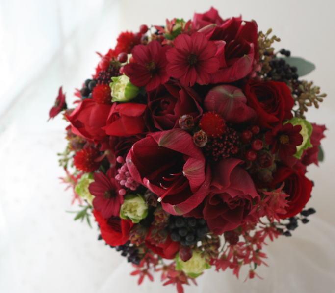 ブーケ ラウンド 12月、かわいい赤で_a0042928_22511494.jpg