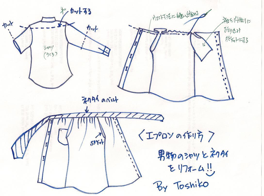 Sew Easy! シャツをリフォームしてエコバッグとエプロンを作る♪_b0130809_141196.jpg