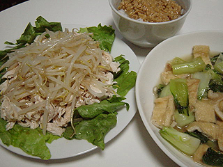 鶏ささみともやしのポン酢和えと青梗菜のにんにく炒め_c0025217_23413383.jpg
