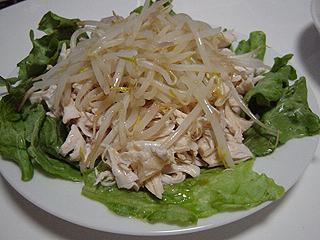 鶏ささみともやしのポン酢和えと青梗菜のにんにく炒め_c0025217_2341395.jpg