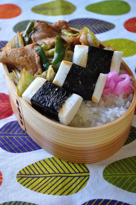 豚肉の生姜焼きと海苔はんぺんのお弁当_b0171098_7451281.jpg