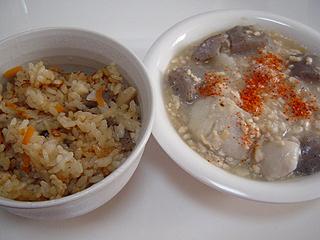 鶏ときのこの炊き込みご飯と煮物_c0025217_1923559.jpg