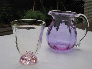 福沢ガラス 桜色グラス ピッチャー_c0204333_18451786.jpg