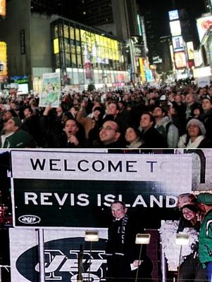 地元アメフトチーム、NYジェッツを応援するイベント@タイムズスクエア_b0007805_13353072.jpg