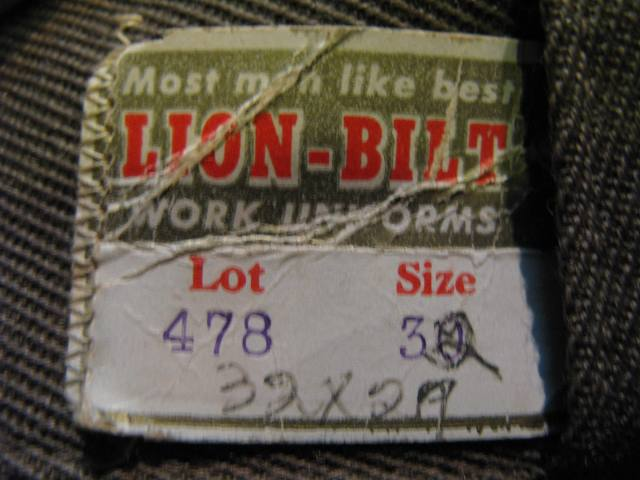 50'S LIONーBILT WORK PANTS!W32 デッドストック_c0144020_13143285.jpg