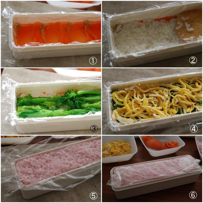 スモークサーモンと菜の花の紅白押し寿司_a0103712_135432.jpg