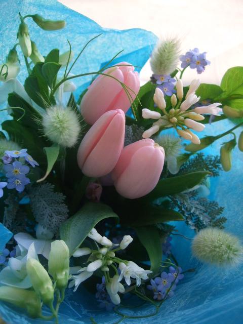 オークリーフ(ピンクダイヤモンドと春草の花束)_f0049672_17214453.jpg