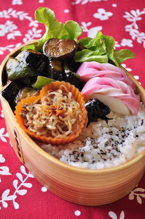 茄子とピーマンの味噌炒め弁当_b0171098_7502034.jpg
