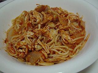 鶏ささみとマッシュルームのトマトソーススパゲティと鳥皮サラダ_c0025217_12451512.jpg