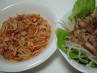 鶏ささみとマッシュルームのトマトソーススパゲティと鳥皮サラダ_c0025217_1245715.jpg