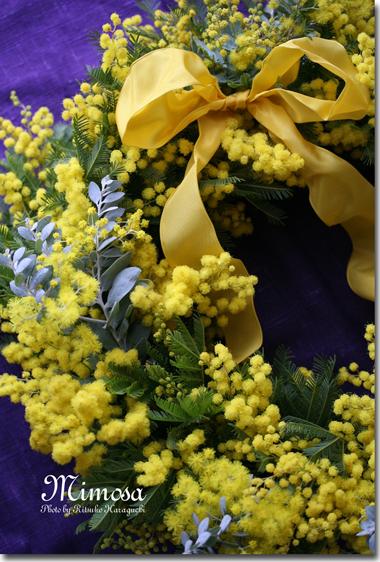 春のかおり  ミモザのリース_f0127281_22485983.jpg