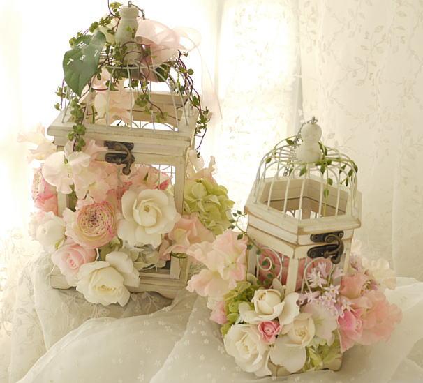 ブーケ 白のとりかごとピンク 幕張のホテルフランクス様へ_a0042928_0114985.jpg