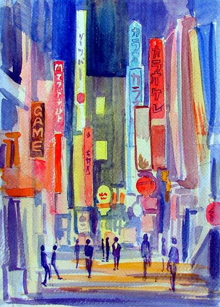 ネオン街2 Watercolor By Shinji Sato