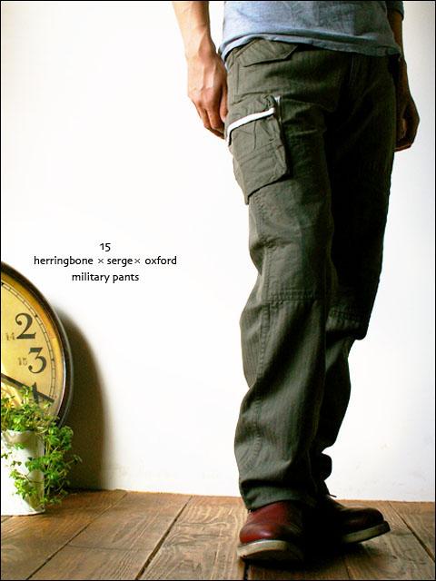 15[jyugo] herringbone × sarge × oxford military pants [029-M]  _f0051306_13401016.jpg