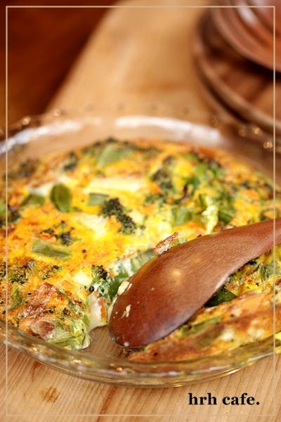 春野菜たっぷりオムレツ。オーブンの予熱利用♪_b0165178_9484724.jpg