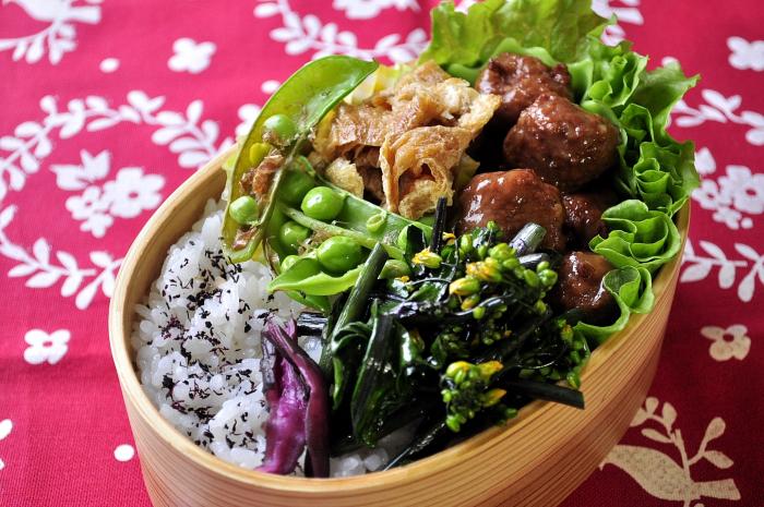 ミートボールと春野菜のお弁当_b0171098_6582578.jpg