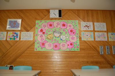 みんなで作った桜の貼り絵が完成。_a0154110_16371943.jpg