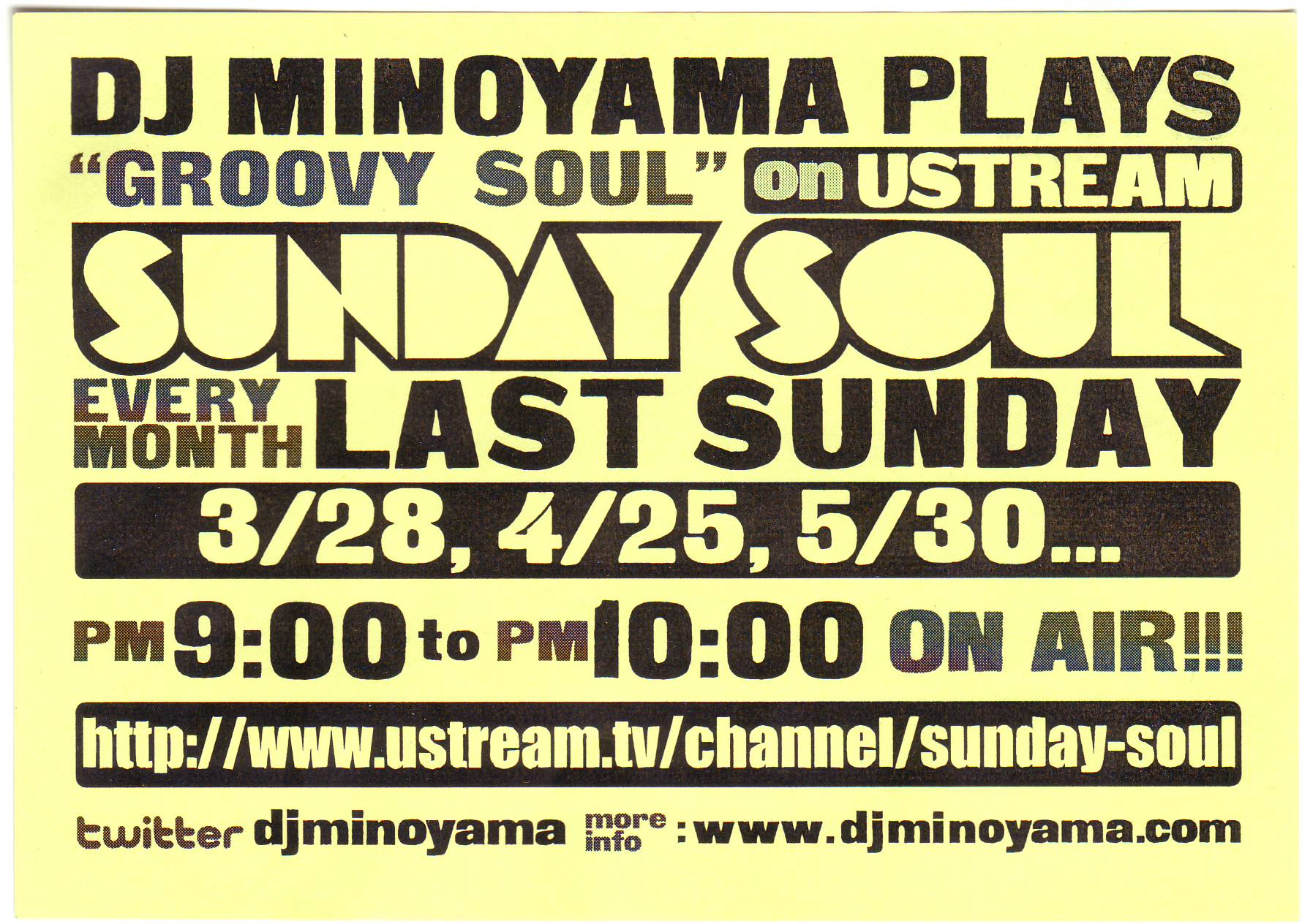 今宵「SUNDAY SOUL」on USTREAM by DJ MINOYAMA_d0107546_15331341.jpg