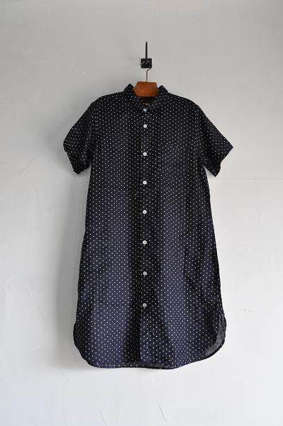 RINEN 60/1リネン水玉プリントレギュラーカラーロングシャツ