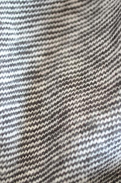 RINEN/リネン 12033 18.5/1ムラ糸天竺1×1ボーダーショールカラーポロ7分袖