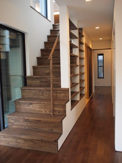 「国分寺の家」 階段、階段脇の本棚  手すりのディテール_f0230666_1119760.jpg