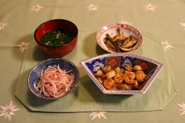 マッシュルームと海老のゴマ油炒め(278kcal)_f0229190_21524430.jpg