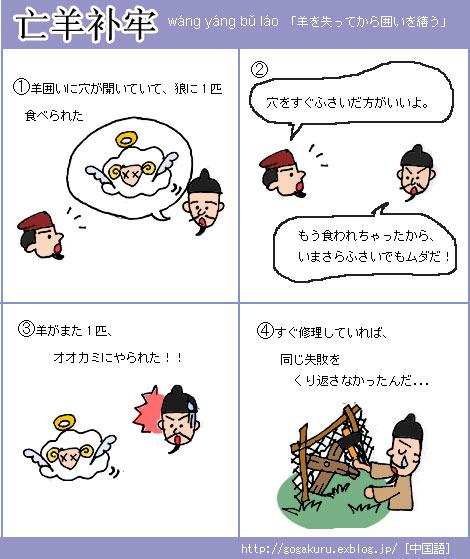 【中国語】羊を失ってから囲いを繕う /おさらいフレーズ_e0132084_033554.jpg