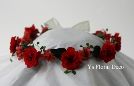 花冠&リストレット 赤いプリザーブドフラワーで_b0113510_052721.jpg