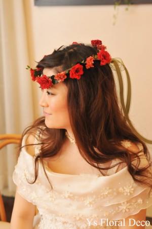 花冠&リストレット 赤いプリザーブドフラワーで_b0113510_05336.jpg