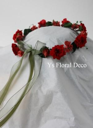 花冠&リストレット 赤いプリザーブドフラワーで_b0113510_073999.jpg
