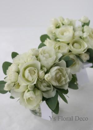 カップ咲きのバラとポポラス ティアドロップブーケ_b0113510_113743.jpg