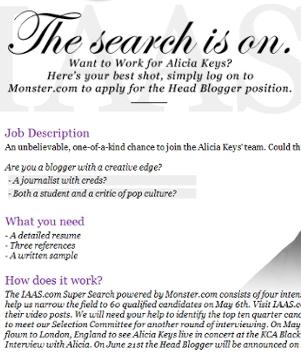 ブロガーの皆さんへ、Alicia Keysさんから夢のお仕事のチャンス!!!_b0007805_1074357.jpg