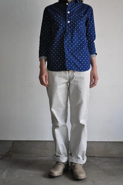 NATIC/ナティック インディゴ水玉シャツ